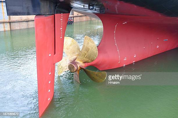 rudder and propeller of a ship - propeller stock pictures, royalty-free photos & images