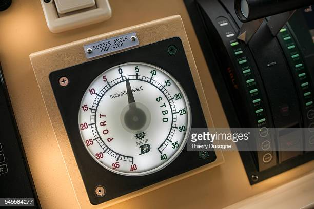 Rudder angle indicator on container ship