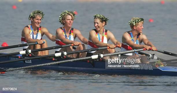 Rudern Olympische Spiele Athen 2004 Athen Doppelvierer ohne / Frauen Gold Kathrin BORON Meike EVERS Manuela LUTZE Kerstin KOWALSKI / GER 220804