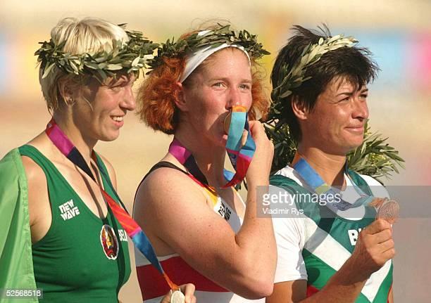 Rudern Olympische Spiele Athen 2004 Athen Einer / Frauen / Finale Silber fuer EkaterinaKARSTEN / BLR Gold fuer Katrin RUTSCHOWSTOMPOROWSKI / GER und...