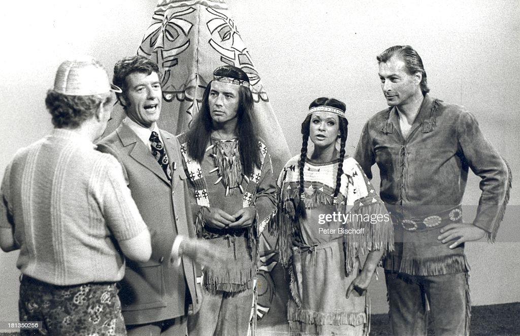 Rudi Carrell, Pierre Brice, Marie Versini, Lex Barker, (v.l.n.r. : Nachrichtenfoto