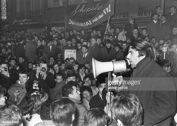 Rudi Dutschke spokesperson of the German student movement taking part in a demonstration in Frankfurt against the war in Vietnam