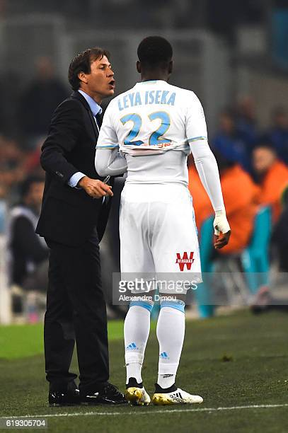 Rudi Garcia Coach of Marseille and Aaron Leya Iseka of Marseille during the French Ligue 1 match between Marseille and Bordeaux at Stade Velodrome on...