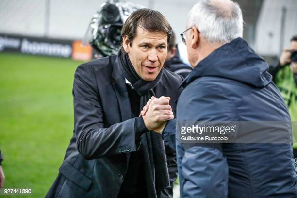 Rudi Garcia coach of Marseille and Claudio Ranieri coach of Nantes during the Ligue 1 match between Olympique Marseille and Nantes at Stade Velodrome...