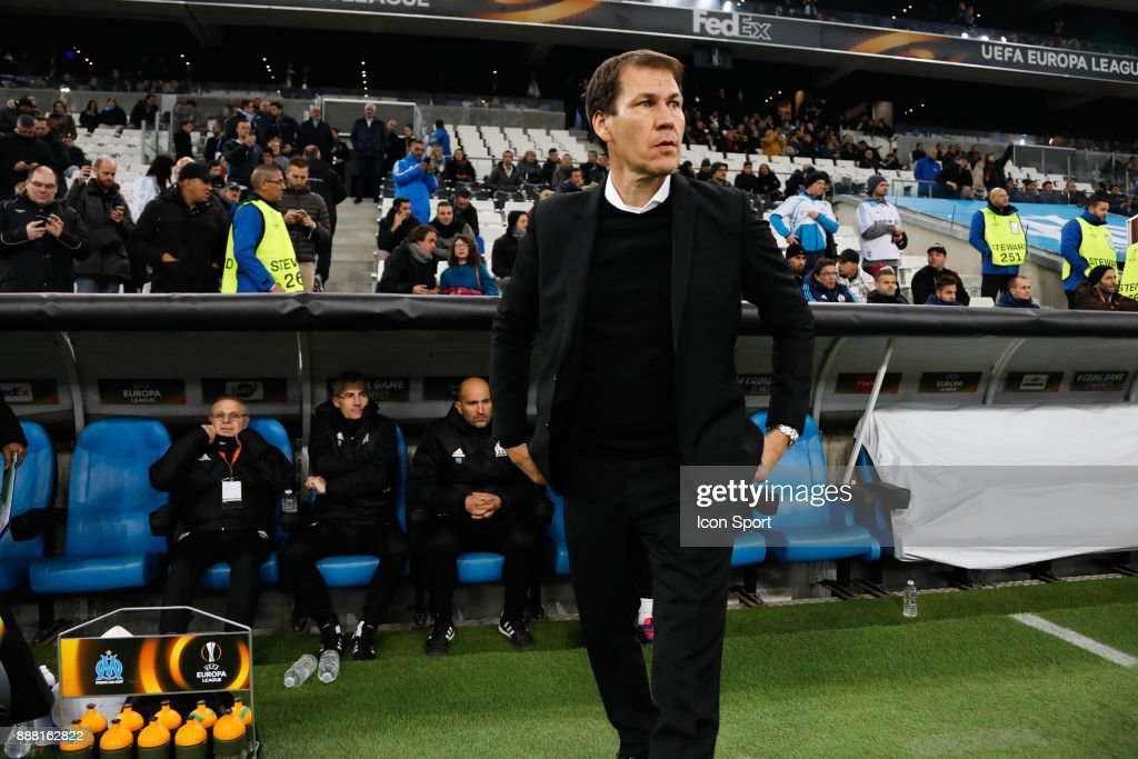 Rudi Garcia coach of Marseille during the Uefa Europa League match between Olympique de Marseille and Red Bull Salzburg at Stade Velodrome on December 7, 2017 in Marseille, France.