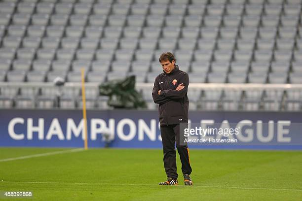 Rudi Garcia, head coach of AS Roma looks on during a AS Roma training session prior to their UEFA Champions League match against FC Bayern Muenchen...