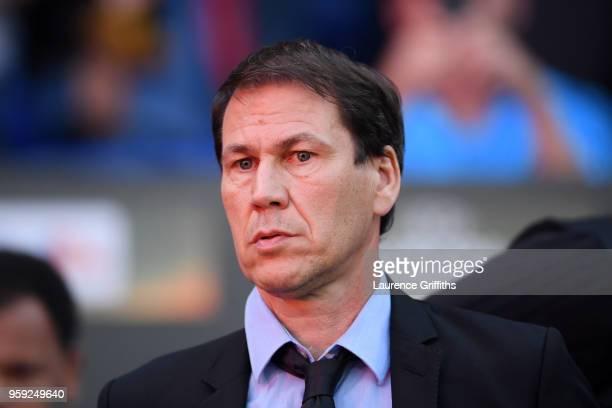 Rudi Garcia head coach of Marseille looks on prior to the UEFA Europa League Final between Olympique de Marseille and Club Atletico de Madrid at...