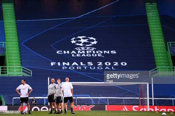 Rudi Garcia Head Coach of of Olympique Lyon looks on during the Olympique Lyonnais Training Session ahead of the UEFA Champions League match between...