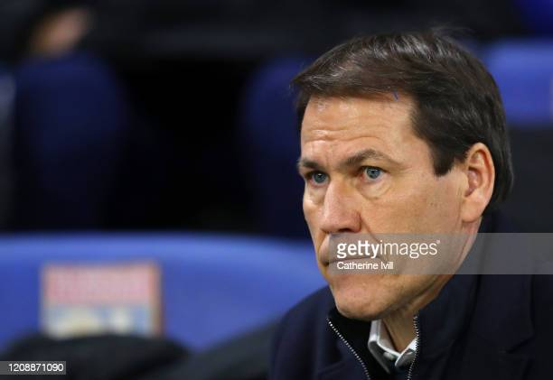 Rudi Garcia, Head Coach of of Olympique Lyon looks on prior to the UEFA Champions League round of 16 first leg match between Olympique Lyon and...