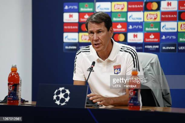 Rudi Garcia, Head Coach of of Olympique Lyon speaks to the media during a press conference ahead of their UEFA Champions League Semi Final match...