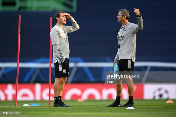 Rudi Garcia Head Coach of Olympique Lyon gestures during the Olympique Lyonnais Training Session ahead of the UEFA Champions League match between...