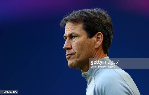 Rudi Garcia, Head Coach of Olympique Lyon looks on during the Olympique Lyonnais Training Session ahead of the UEFA Champions League match between...