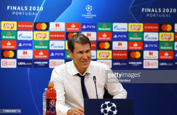Rudi Garcia, Head Coach of Olympique Lyon speaks to media during a press conference following the UEFA Champions League Quarter Final match between...