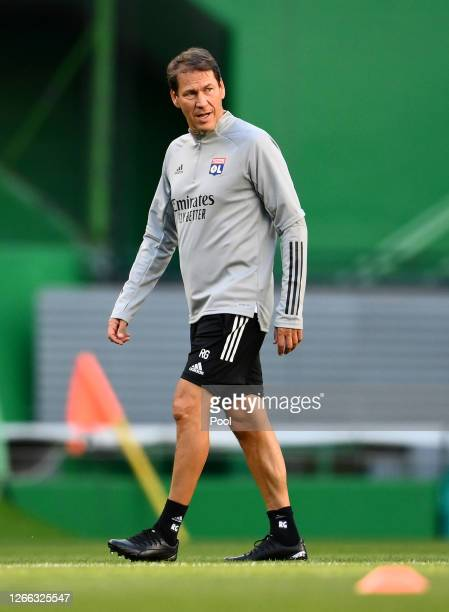 Rudi Garcia Head Coach of Olympique Lyon walks on during the Olympique Lyonnais Training Session ahead of the UEFA Champions League match between...