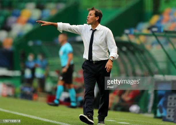 Rudi Garcia, Head Coach of Olympique Lyonnais gives his team instructions during the UEFA Champions League Semi Final match between Olympique...
