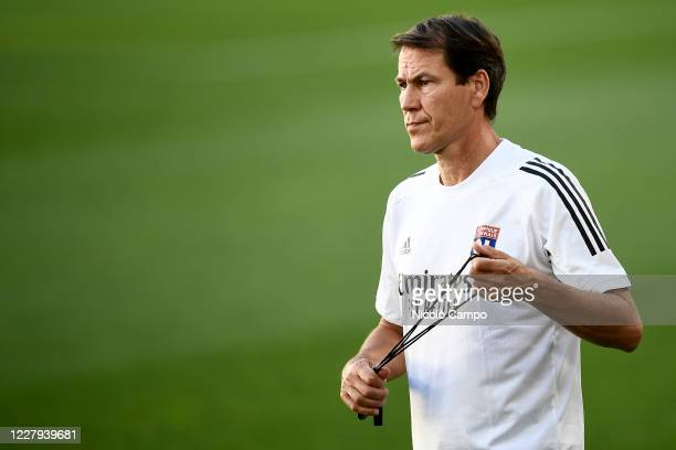 Rudi Garcia, head coach of Olympique Lyonnais, looks on during Olympique Lyonnais training on the eve of the UEFA Champions League round of 16 second...