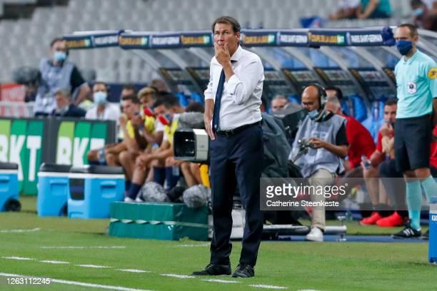 Rudi Garcia Head Coach of Olympique Lyonnais looks on during the French League Cup final between Paris Saint Germain and Olympique Lyonnais at Stade...