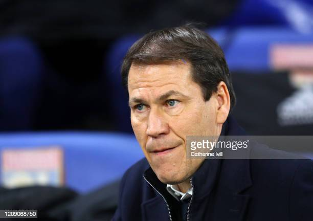 Rudi Garcia head coach of Olympique Lyonnaisduring the UEFA Champions League round of 16 first leg match between Olympique Lyon and Juventus at Parc...