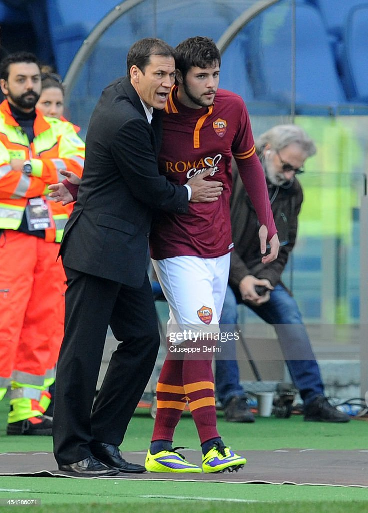 Rudi Garcia head coach of Roma and Mattia Destro of Roma during the Serie A match between AS Roma and ACF Fiorentina at Stadio Olimpico on December 8, 2013 in Rome, Italy.