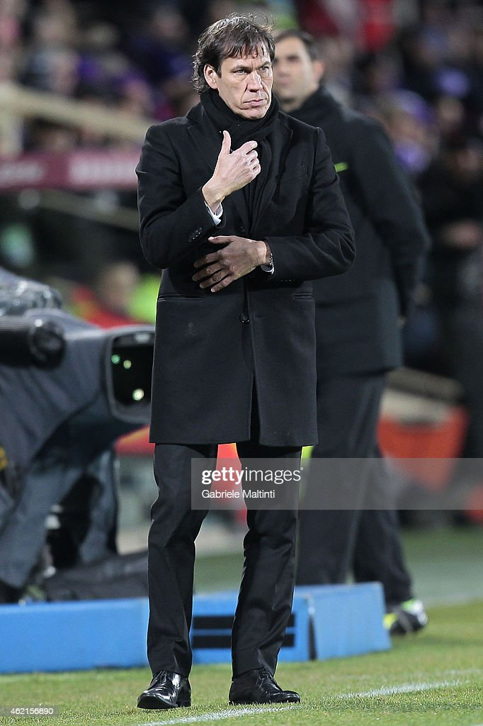 Rudi Garcia manager of AS Roma looks during the Serie A match between ACF Fiorentina and AS Roma at Stadio Artemio Franchi on January 25, 2015 in Florence, Italy.
