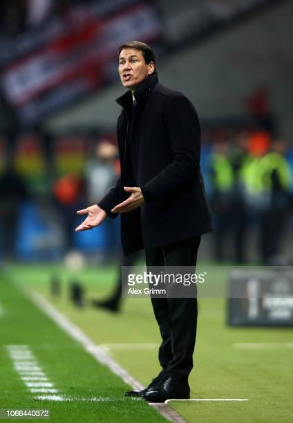 Rudi Garcia of Marseille gives his team instructions during the UEFA Europa League Group H match between Eintracht Frankfurt and Olympique de...