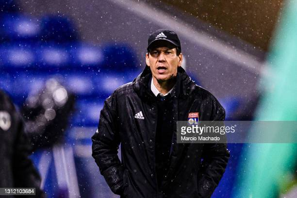 Rudi Garcia Olympique Lyon Head Coach during the Ligue 1 match between Olympique Lyon and Angers SCO at Groupama Stadium on April 11, 2021 in Lyon,...