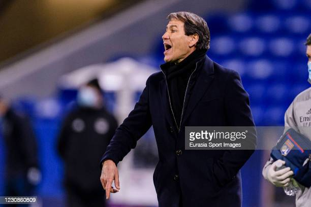 Rudi Garcia Olympique Lyon Head Coach gestures during the match between Olympique Lyonnais and Bordeaux at Groupama Stadium on January 29, 2021 in...