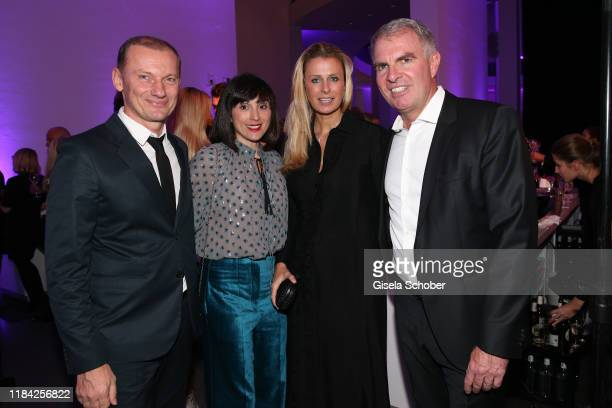 Rudi Kull and his wife Irina Kull CEO of Lufthansa Carsten Spohr and his wife Vivian Spohr during the PIN Party at Pinakothek der Moderne on November...