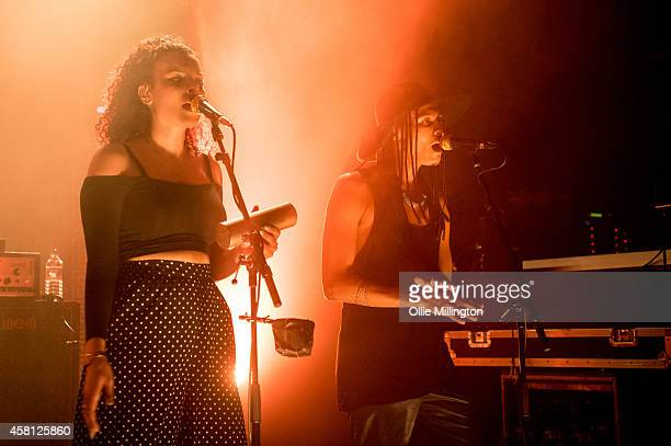 Rudi Salmon and Andro Cowperthwaite of Jungle perform on stage at Shepherds Bush Empire on October 30 2014 in London United Kingdom