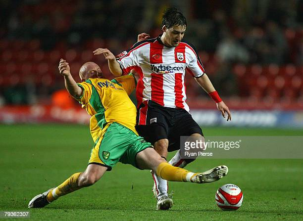 Rudi Skacel of Southampton is tackled by Matthew Pattison of Nowrich City during the Coca Cola Championship match between Southampton and Norwich...