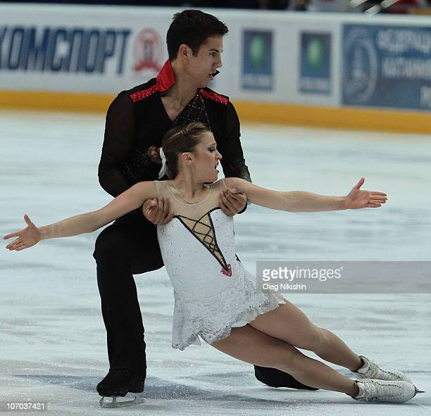 Rudi Swiegers and Paige Lawrence of Canada compete in the Pairs Skating Program during the ISU Grand Prix Figure Skating 2010/2011 Cup of Russia at...
