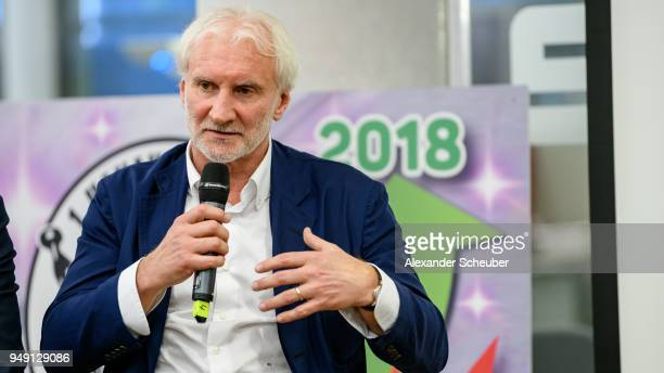 Rudi Voeller attends the 125th anniversary of 1 Hanauer FC on April 20 2018 in Hanau Germany