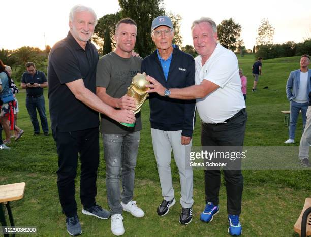 """Rudi Voeller, Lothar Matthaeus, Franz Beckenbauer and Andreas """"Andy"""" Brehme during the gala for the 30th anniversary celebration of the German World..."""
