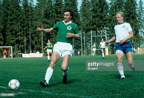 Rudi Voeller of Germany in action during the Under 21 European Championship qualifying match between Germany and Finland on September 22 1981 in...