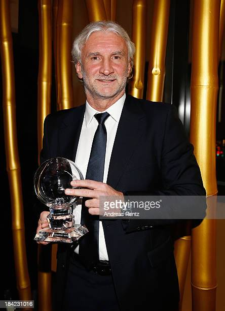 Rudi Voeller poses with his award at the Steiger Award 2013 at Dortmunder U on October 12 2013 in Dortmund Germany