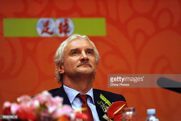 Rudi Voeller Sports Director of Leverkusen attends a press conference of Bayer Leverkusen on May 14 2010 in Beijing China