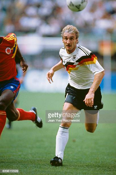 Rudi Voller during the 1990 Soccer World Cup match between Colombia and West Germany.