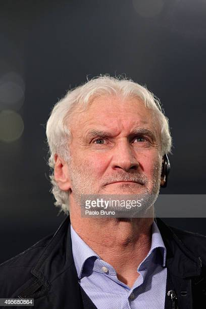 Rudi Voller of Bayer 04 Leverkusen looks on during the UEFA Champions League Group E match between AS Roma and Bayer 04 Leverkusen at Olimpico...