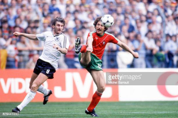 Rudi Voller of Germany and Eurico Gomes of Portugal during the European Championship match between West Germany and Portugal at Meinau Strasbourg...