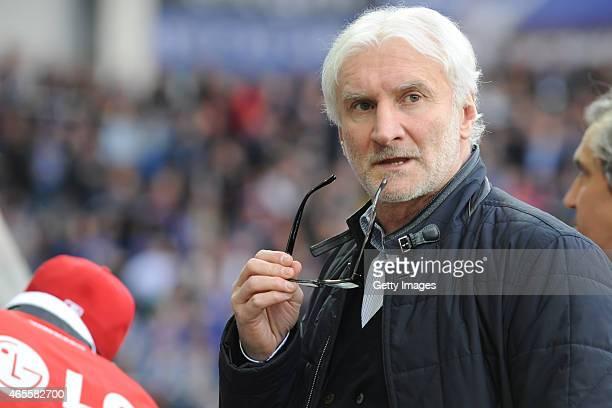 Rudi Voller sports director of Leverkusen gestures during the Bundesliga match between SC Paderborn and Bayer Leverkusen at Benteler Arena on March 8...