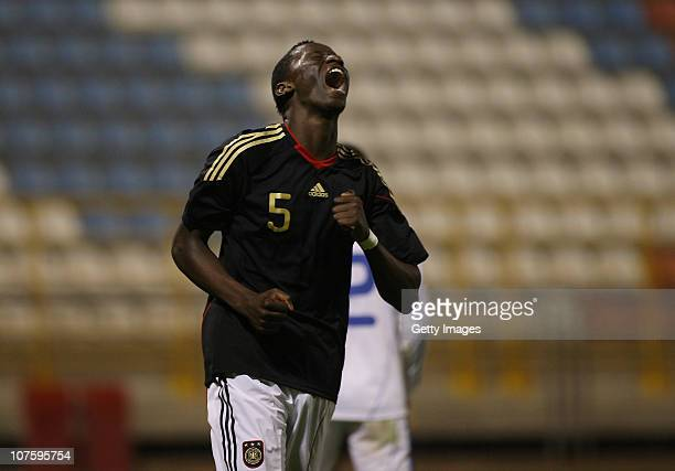 Rudiger Antonio of Germany celebrates after scoring a goal during the U18 international friendly match between Israel and Germany on December 14 2010...