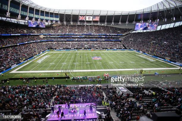 Rudimental perform during the NFL London 2021 match between Miami Dolphins and Jacksonville Jaguars at Tottenham Hotspur Stadium on October 17, 2021...