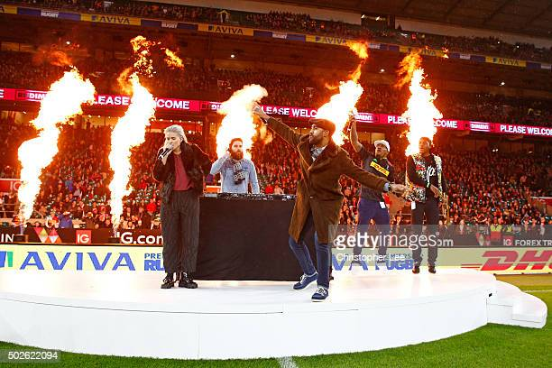 Rudimental perform prior to the Aviva Premiership Big Game 8 match between Harlequins and Gloucester at Twickenham Stadium on December 27 2015 in...