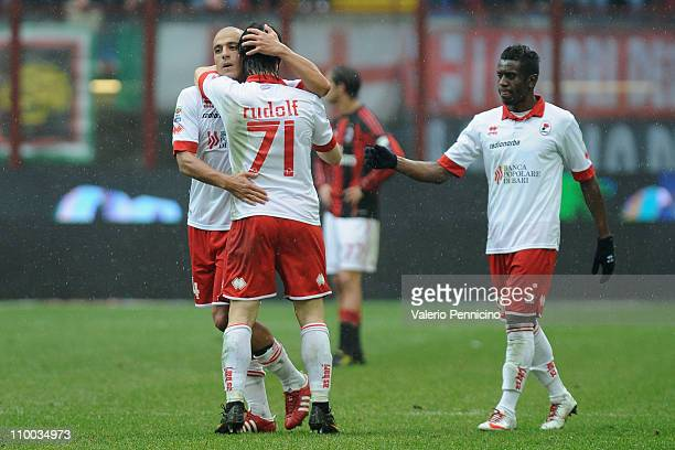Rudolf Gergely of AS Bari celebrates with Sergio Bernardo Almiron and Edgar Anthony Reyes Alvarez after scoring the opening goal during the Serie A...