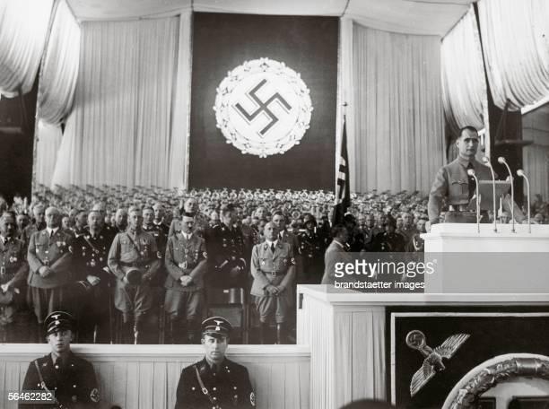 Rudolf Hess inaugurates in the presence of Adolf Hitler Heinrich Himmler and head of Nazi district Julius Streicher the Reichsparteitag of work From...