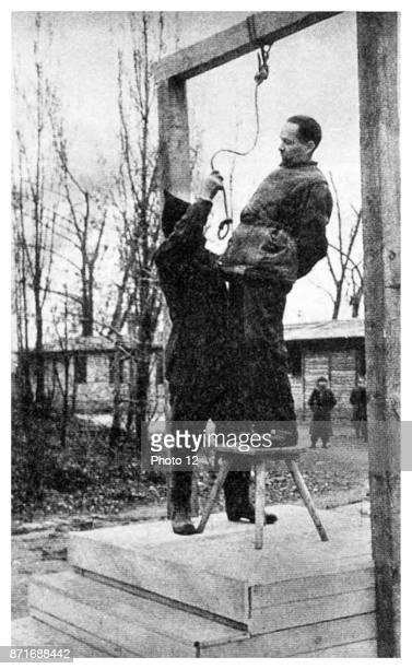 Rudolf Hoess commandant of the Auschwitz concentration camp hanged next to the crematorium at the death camp 1947