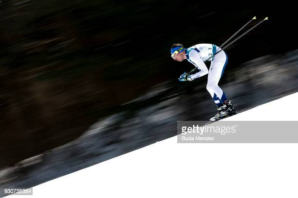 Rudolf Klemetti of Finland compete in the Men's Cross Country 20km Free, Visually Impaired event at Alpensia Biathlon Centre during day two of the...