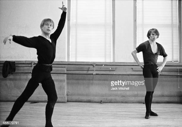 Rudolf Nureyev and Erik Bruhn practice together at American Ballet Theatre rehearsal space January 20 1965