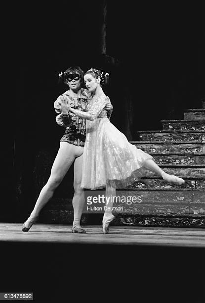Rudolf Nureyev and Merle Park rehearse for a Royal Ballet production of Romeo and Juliet