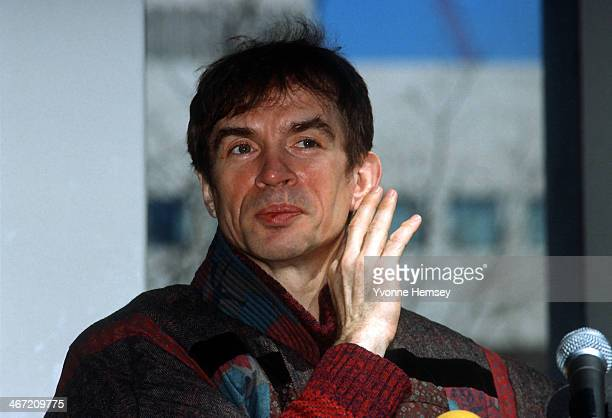 Rudolf Nureyev director of the Paris Opera Ballet announces March 31 1986 in New York City that he and Mikhail Baryshnikov artistic director of...